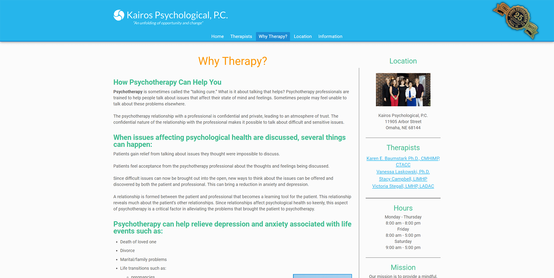 Kairos Psychological Why Therapy Page